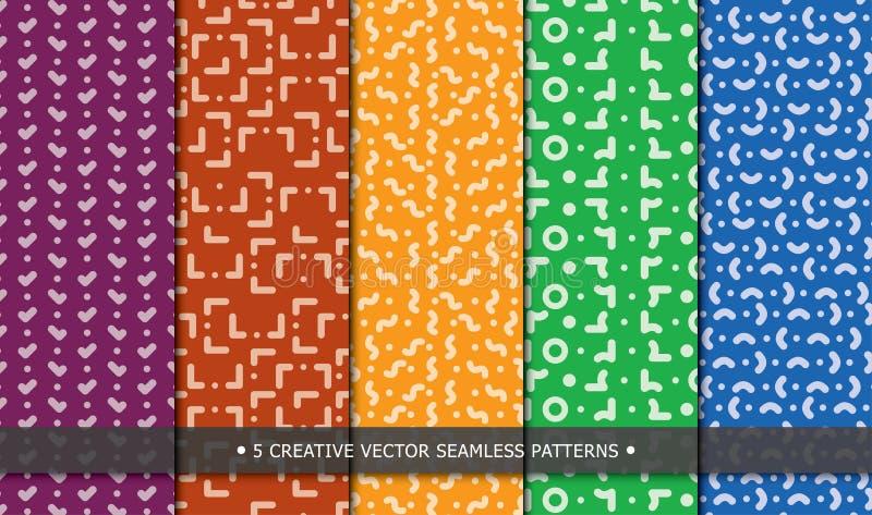 Fünf moderne Muster mit einzigartigen Beschaffenheiten vektor abbildung