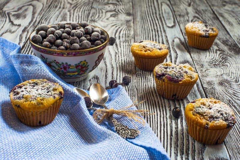Fünf Muffins mit Vorderansicht der Schwarzen Johannisbeeren, horizontaler Rahmen stockbild