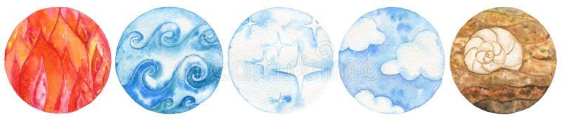 Fünf natürliche Elemente: Feuer, Wasser, Äther, Luft und Erde lizenzfreie abbildung