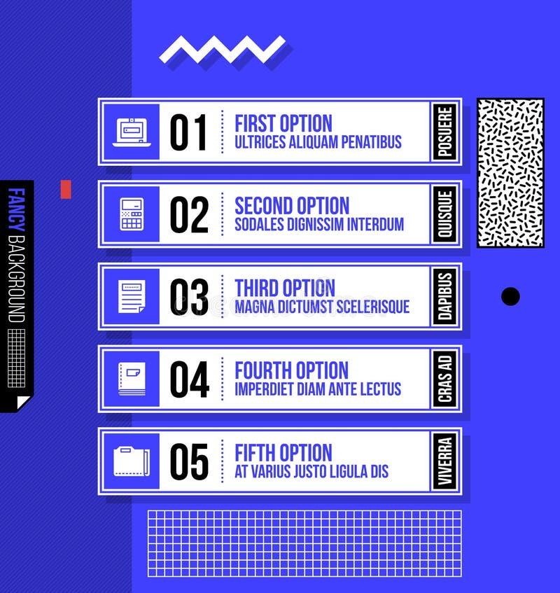 Fünf nummerierte Fahnen/Wahlen im fantastischen geometrischen Stil stock abbildung