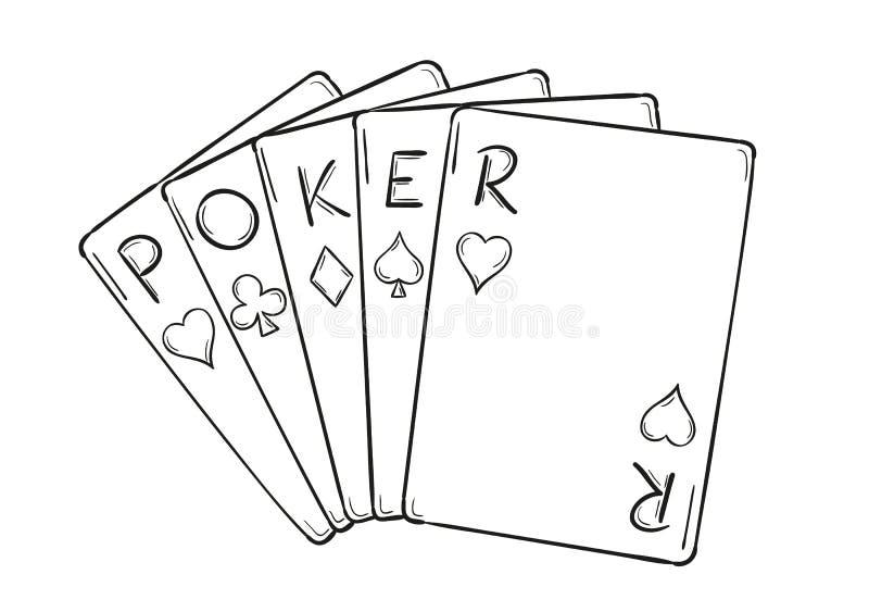 Fünf Pokerkarten stock abbildung