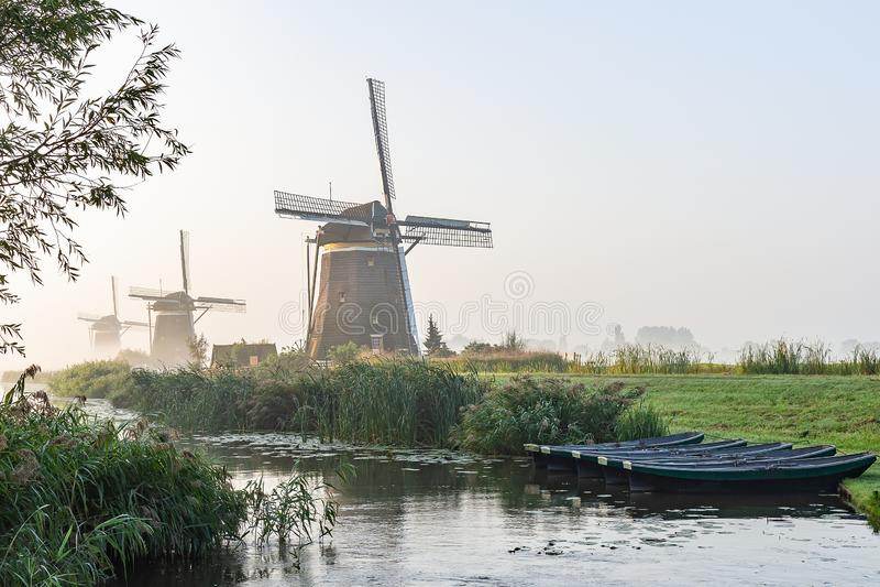 Fünf Ruderboote im Abzugsgraben an den drei Windmühlen von Molendriegang Leidschendam, die Niederlande während eines nebelhaften  stockfotos