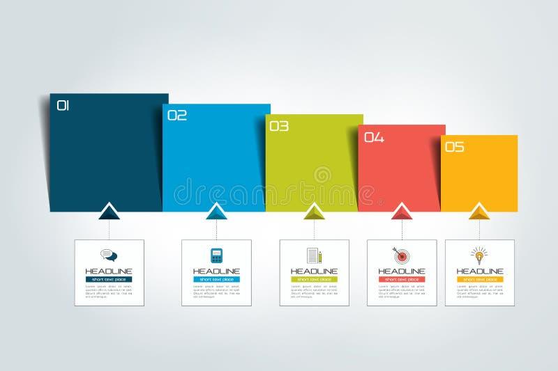 Fünf Schritte Diagramm, Schablone, Entwurf, Vorsprung stock abbildung