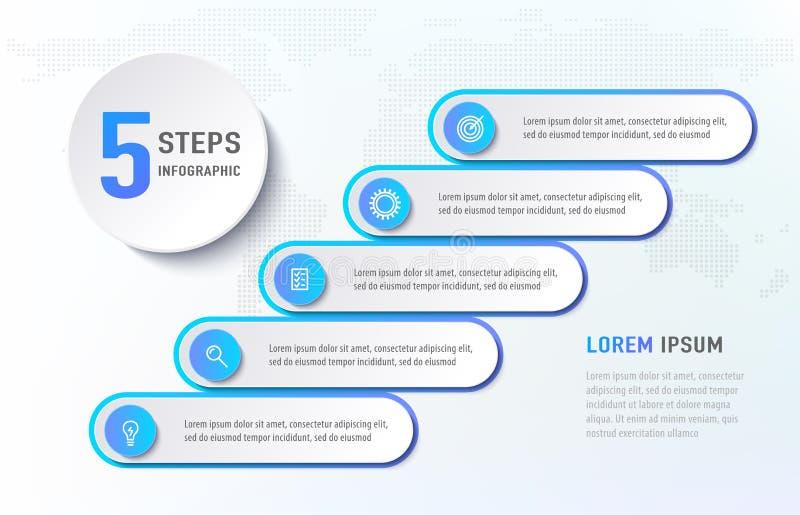 Fünf Schritte infographics wie Treppe Diagrammflussdiagramm mit Ikonenschablonen Auch im corel abgehobenen Betrag stock abbildung