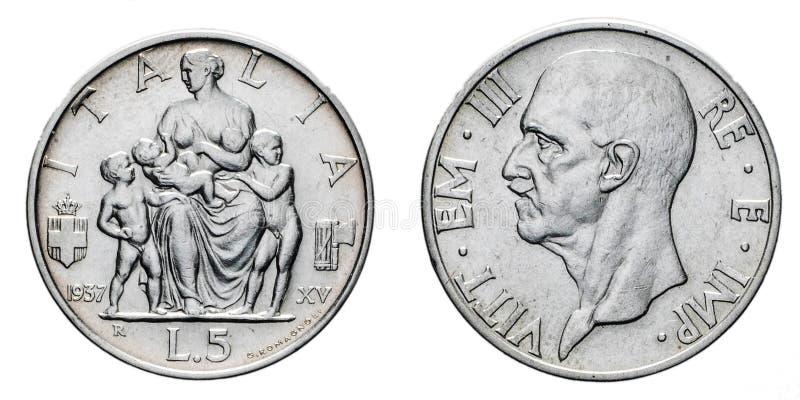 Fünf 5 Silbermünze Fecondita-Ergiebigkeit Vittorio Emanueles III Lire Königreich-1937 von Italien stockbilder