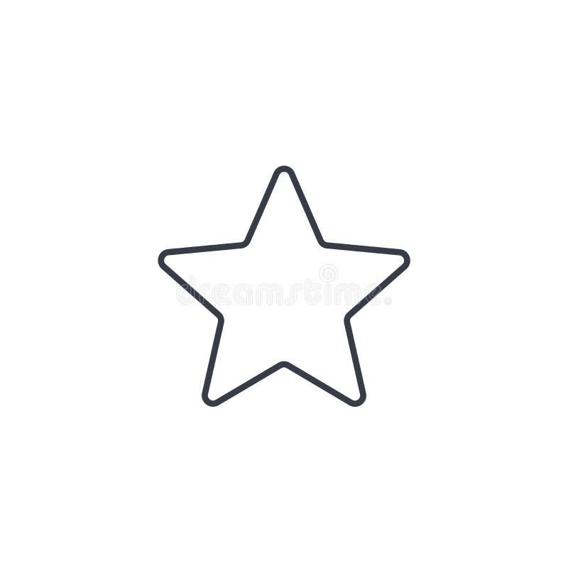 Fünf-spitzer Stern, bookmarken dünne Linie Ikone Lineares Vektorsymbol stock abbildung