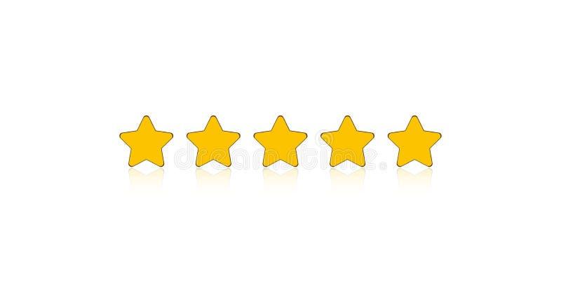Fünf Sterne, die für apps und Website veranschlagen lizenzfreie abbildung