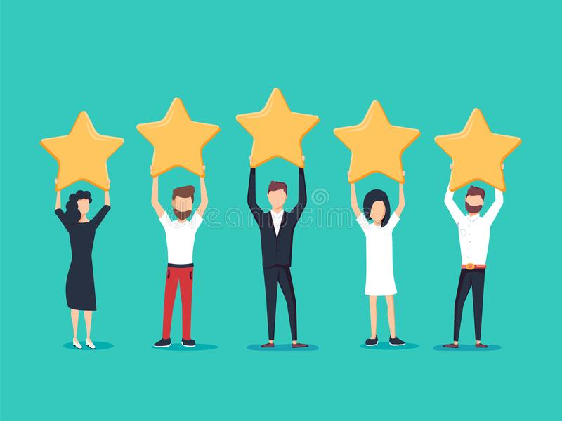 Fünf Sterne, die flaches Artvektorkonzept veranschlagen Leute halten Sterne über den Köpfen Feedbackverbraucher vektor abbildung