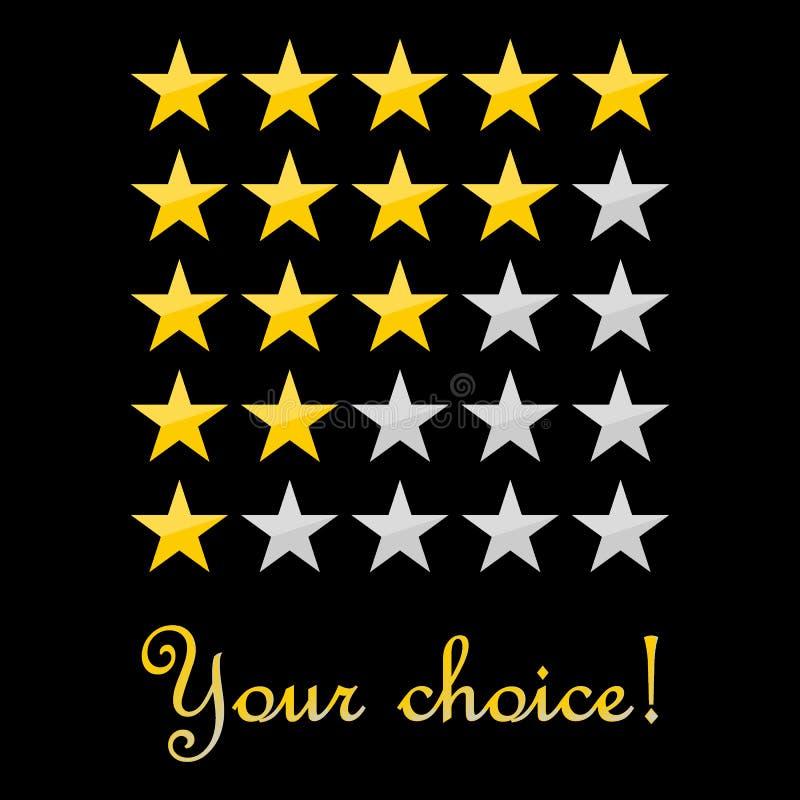 Fünf-Sternebewertungsikonen-Vektorillustration eps10 Ihr auserlesenes Konzept veranschlagendes Fünf-Sternezeichen auf schwarzem H lizenzfreie abbildung