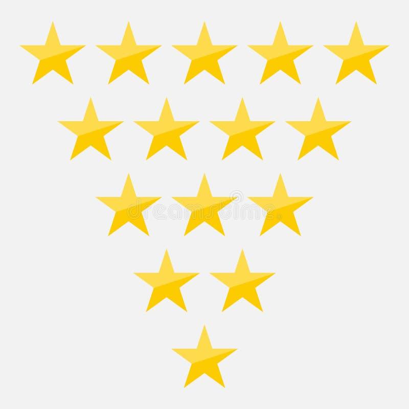 Fünf-Sternebewertungsikonen-Vektorillustration eps10 Lokalisierter Ausweis für Website oder APP - infographics auf Lager vektor abbildung