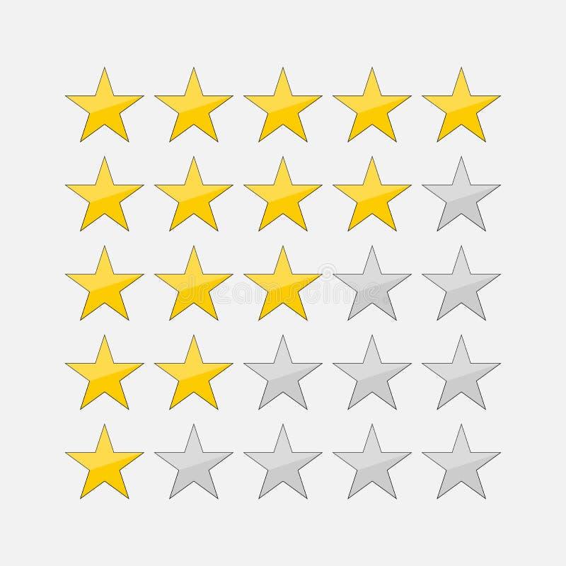 Fünf-Sternebewertungsikonen-Vektorillustration eps10 Lokalisierter Ausweis für Website oder APP - infographics auf Lager stock abbildung