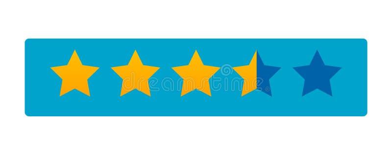Fünf-Sternebewertungsikonenvektor Ratenabstimmung mögen Symbol ordnen lizenzfreie abbildung