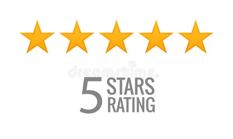 Fünf-Sternebewertungsikonenvektor Ratenabstimmung mögen Symbol ordnen stock abbildung