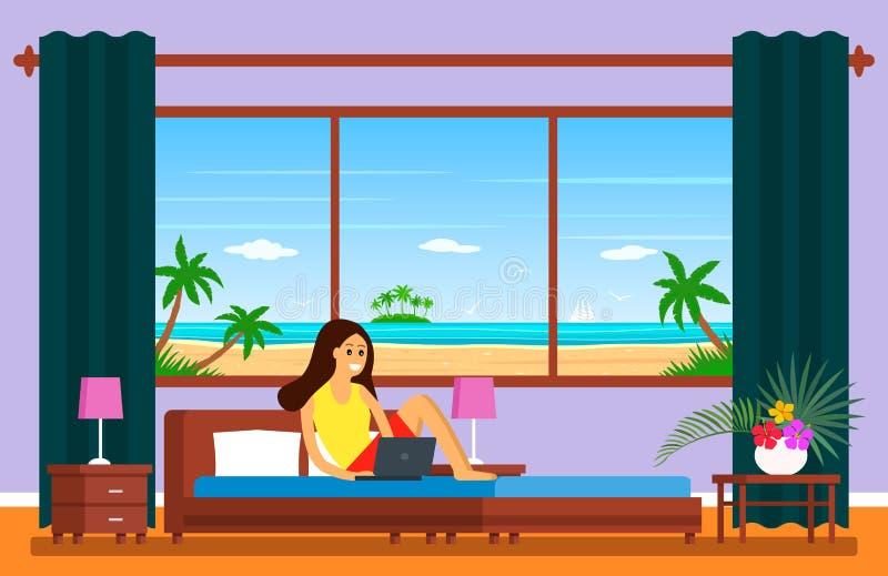 Fünf-Sternehotelzimmer mit dem panoramischen Fenster, das den Strand übersieht Ein junges Mädchen sitzt auf einem Bett mit einem  stock abbildung