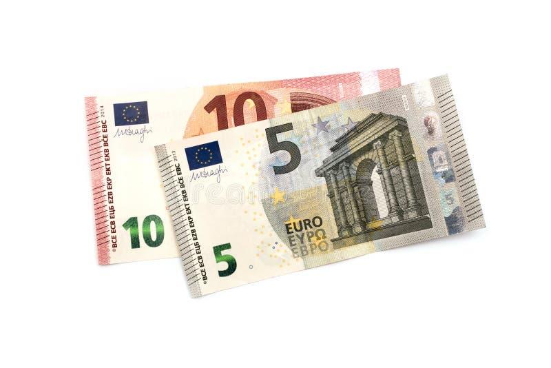 Fünf und zehn Euros lizenzfreie stockbilder