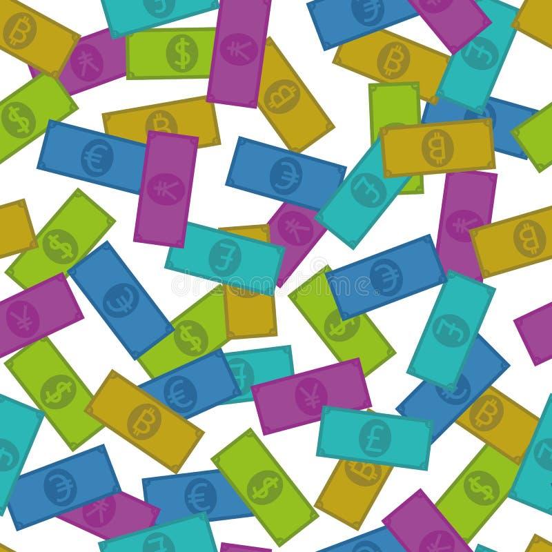 Fünf verschiedene Währungen, nahtloses Muster vektor abbildung