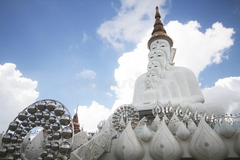 Fünf weiße Buddha-Statuen, die wohle Ausrichtung vor blauem Himmel sitzen und wunderbaren attraktiven Spiegel verzieren stockfotos