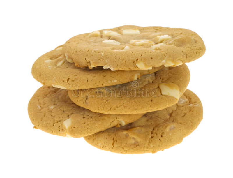 Fünf weiße Schokoladenplätzchen der Macadamia lizenzfreies stockfoto