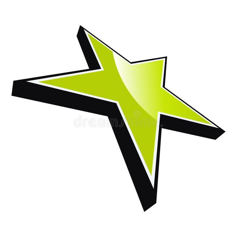 Fünf zeigten grünen Stern lizenzfreie abbildung