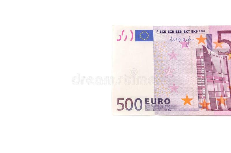 Fünfhundert Euros auf einem weißen Hintergrund stockbild