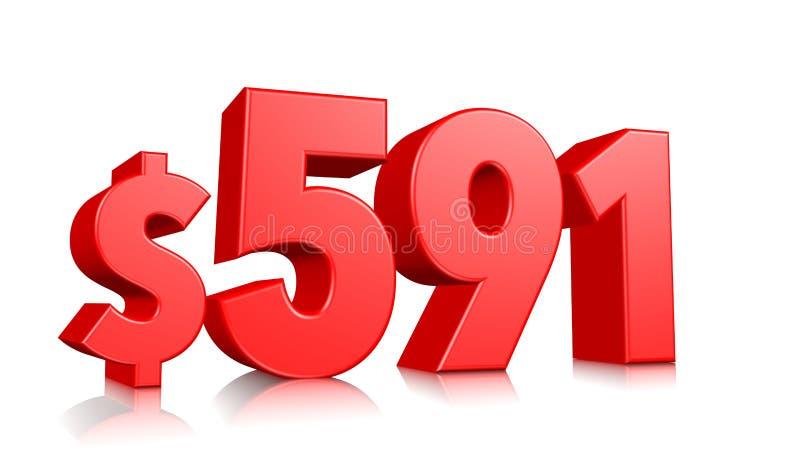 591$ fünfhundert neunzig ein Preissymbol rote Textzahl 3d mit Dollarzeichen auf weißem Hintergrund übertragen vektor abbildung