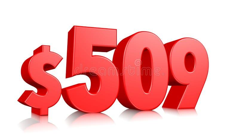 509$ fünfhundert Symbol mit neun Preisen rote Textzahl 3d mit Dollarzeichen auf weißem Hintergrund übertragen vektor abbildung