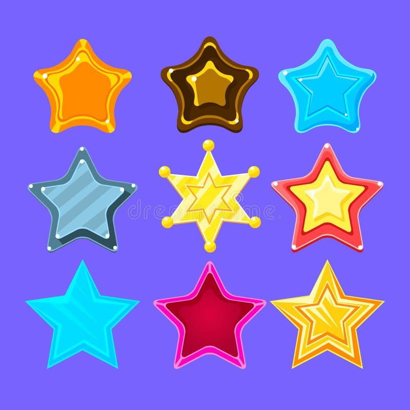 Fünfpunktige bunte Karikatur-Stern-Sammlung für grelle Videospiel-Belohnungen, Prämien und Aufkleber stock abbildung