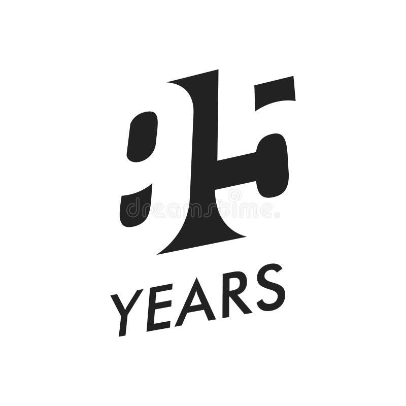 Fünfundneunzig Jahre Vektoremblem-Schablone Jahrestagssymbol, negatives Raumdesign Schwarze Ikone des Jubiläums Farb glücklich stock abbildung