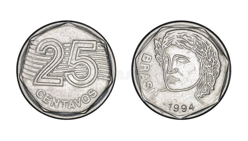 Fünfundzwanzig-Cent-brasilianische wirkliche Münze, Front und hintere Gesichter - Ol lizenzfreie stockfotos