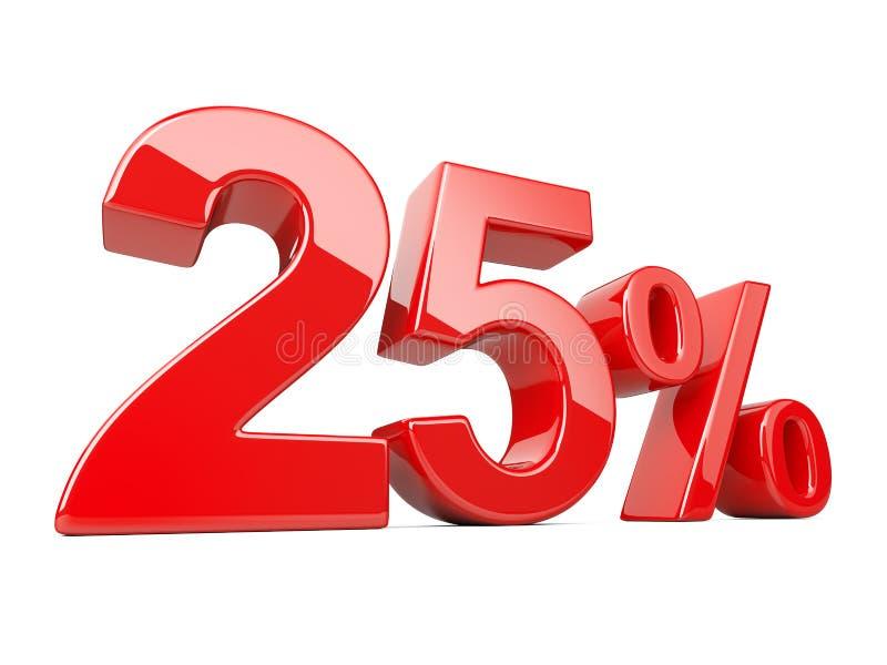 Fünfundzwanzig-rotes Prozent-Symbol 25% Prozentsatz Special weg vektor abbildung