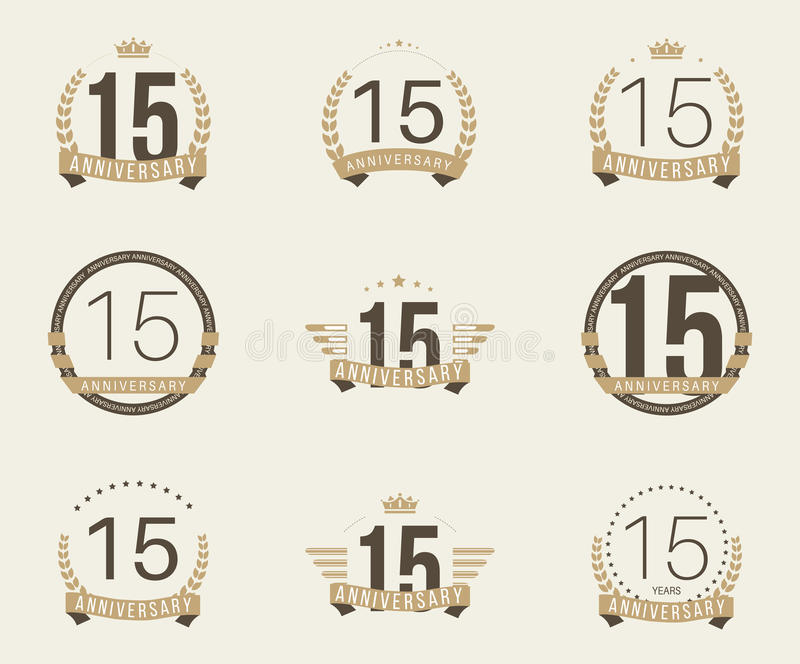 Fünfzehn Jahre Jahrestagsfeier-Firmenzeichen 15. Jahrestagslogosammlung stock abbildung