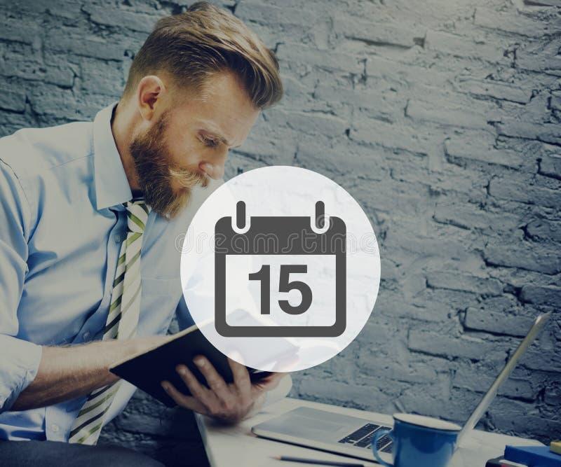 Fünfzehntes Appiontment-Notiz-Zeitplan-Kalender-Plan-Konzept stockbild