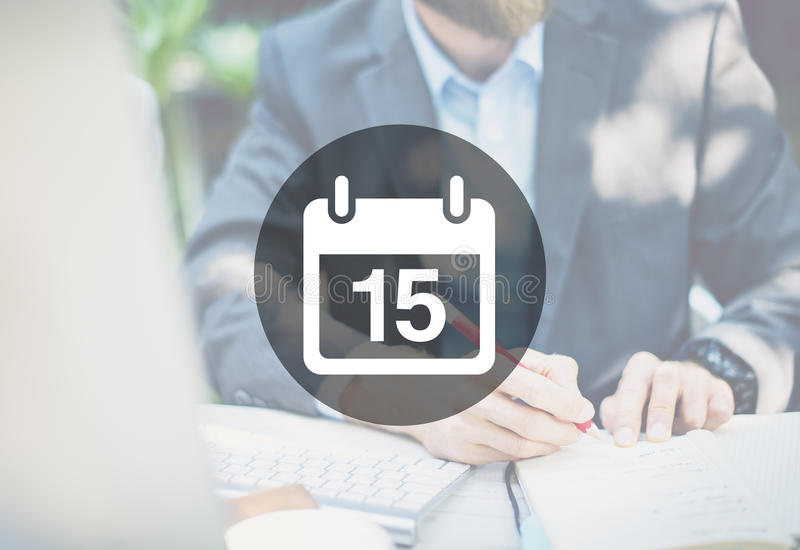 Fünfzehntes Verabredungs-Notiz-Zeitplan-Kalender-Plan-Konzept stockfotos