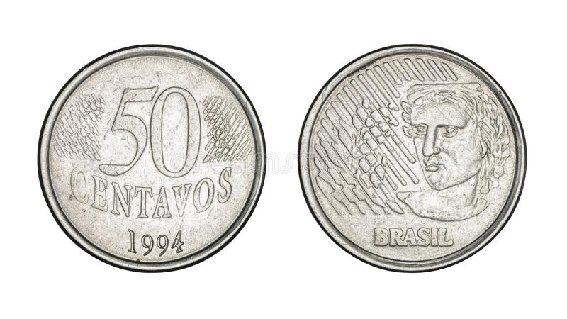 Fünfzig-Cent-brasilianische wirkliche Münze, Front und hintere Gesichter - alte Münze stockbild