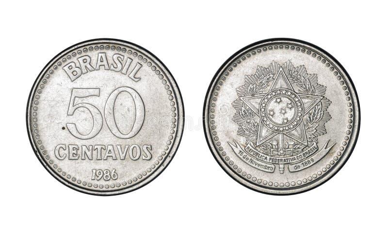 Fünfzig Cruzado-Cents prägen, Jahr 1986 - alte Münzen von Brasilien lizenzfreie stockbilder
