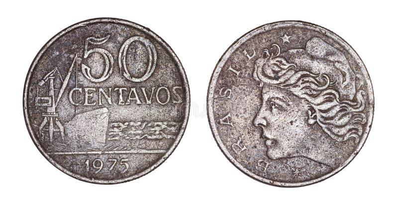 Fünfzig-Cruzeiroscent-brasilianische alte Münzen-, vordere und hinteregesichter lokalisiert auf weißem Hintergrund stockbilder