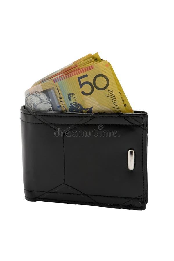 Fünfzig Dollar-Anmerkungen in einer Geldbörse stockfoto