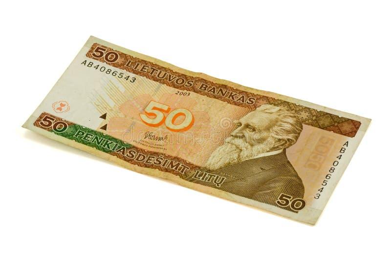 Fünfzig litas Banknote stockbilder