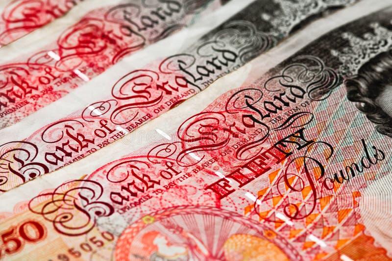 Fünfzig Pfund des Sterling - BRITISCHES Bargeld - Makro lizenzfreie stockbilder