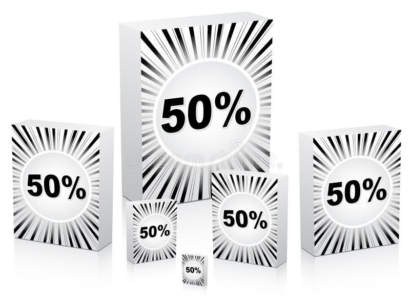 Fünfzig-Prozent-Rabatt auf Kästen vektor abbildung