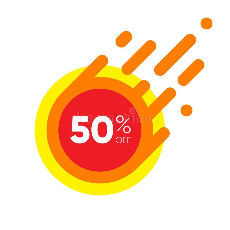 Fünfzig Prozent WEG von der Verkaufs-Rabatt-Fahne Roter Aufkleber des Sonderangebots Flache entworfene Aufkleber-Illustration stock abbildung