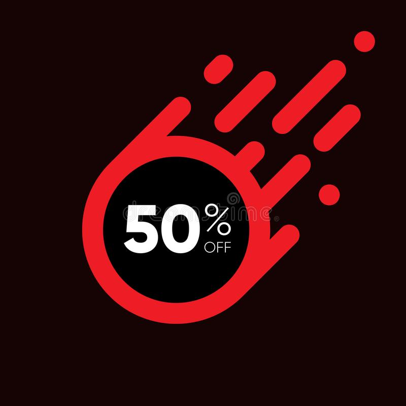 Fünfzig Prozent WEG von der Verkaufs-Rabatt-Fahne Roter Aufkleber des Sonderangebots Flache entworfene Aufkleber-Illustration lizenzfreie abbildung
