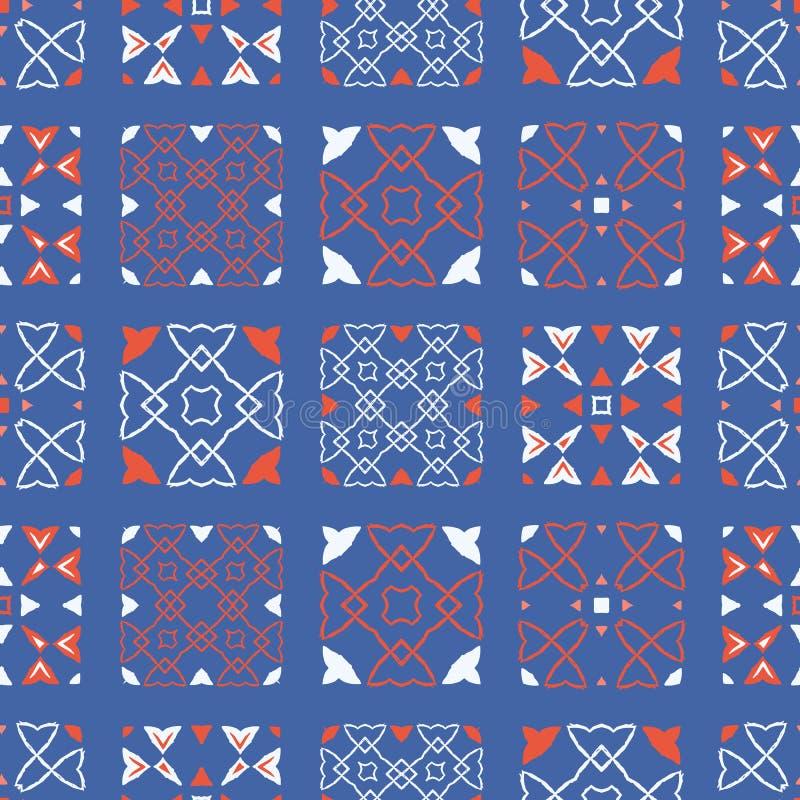 fünfziger Jahre reden Retro- Patchwork-Steppdecken-nahtloses Vektor-Muster an Volksblumendamast vektor abbildung