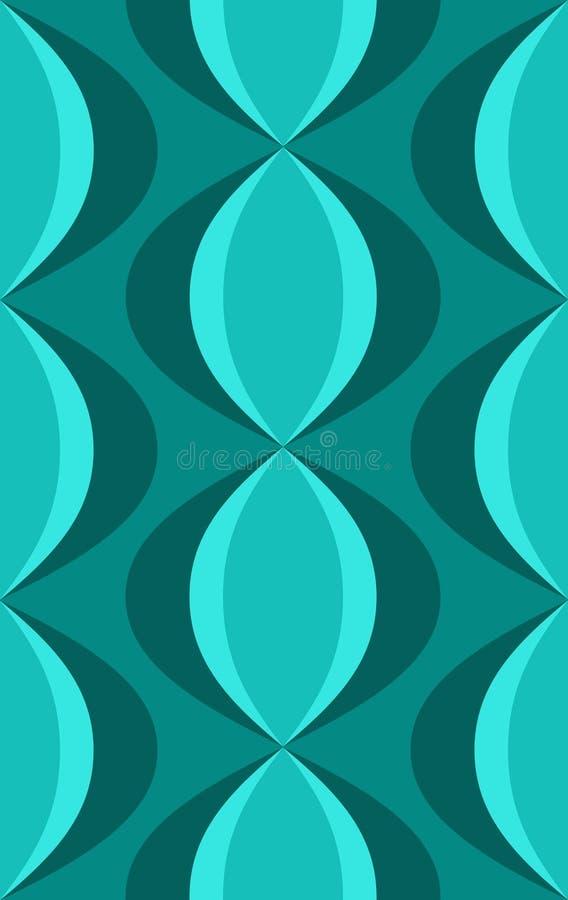 Fünfzigerjahre Retro- blaues ovales Muster lizenzfreie abbildung