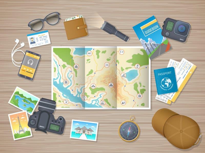Für das Wandern des Ausflugs sich vorbereiten, Ferien, Reise Planung, Verpackungscheck-liste Holztisch mit touristischer Karte, F vektor abbildung