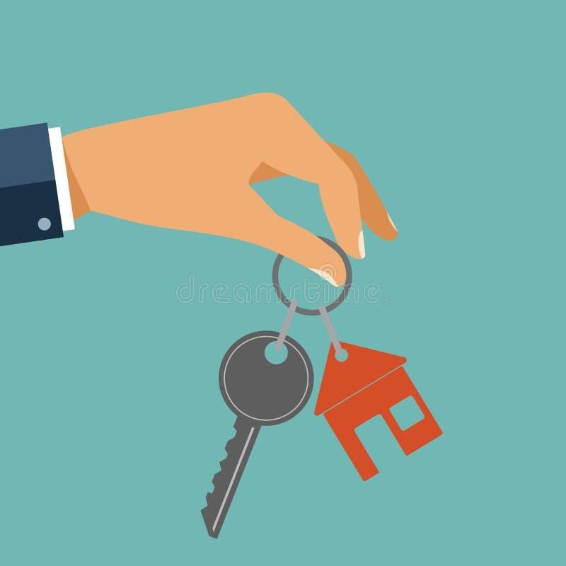 Für Mietshaus Konzept Immobilienagentur hält den Schlüssel vom Th stock abbildung