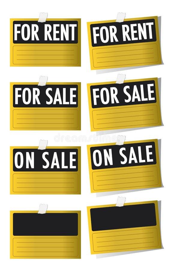 Für Verkauf und für Mietezeichen lizenzfreie stockfotografie