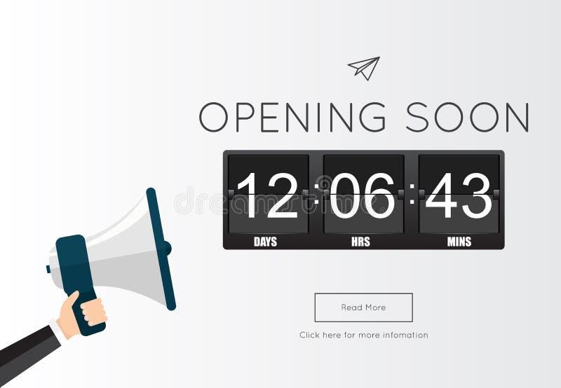 Für Websiteschablone bald sich öffnen lizenzfreie abbildung