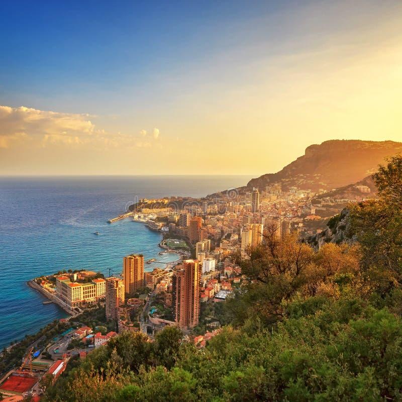 Fürstentumsvogelperspektive Monacos Monte Carlo Azurblaue Küste Frankreich lizenzfreies stockbild