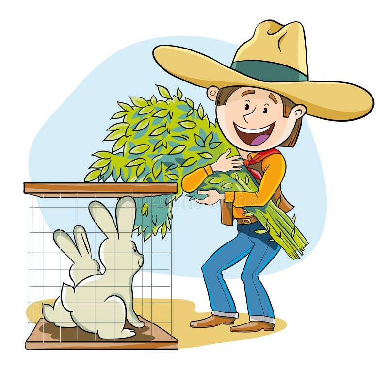 Fütterung der Kaninchen lizenzfreie abbildung